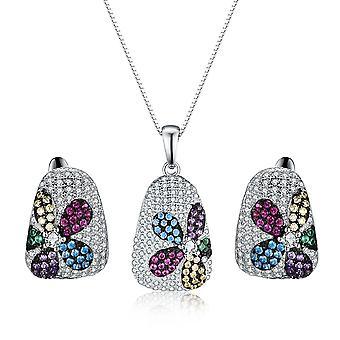 925 Sterling Zilver ingelegde kleurrijke stenen bloem ontwerpset