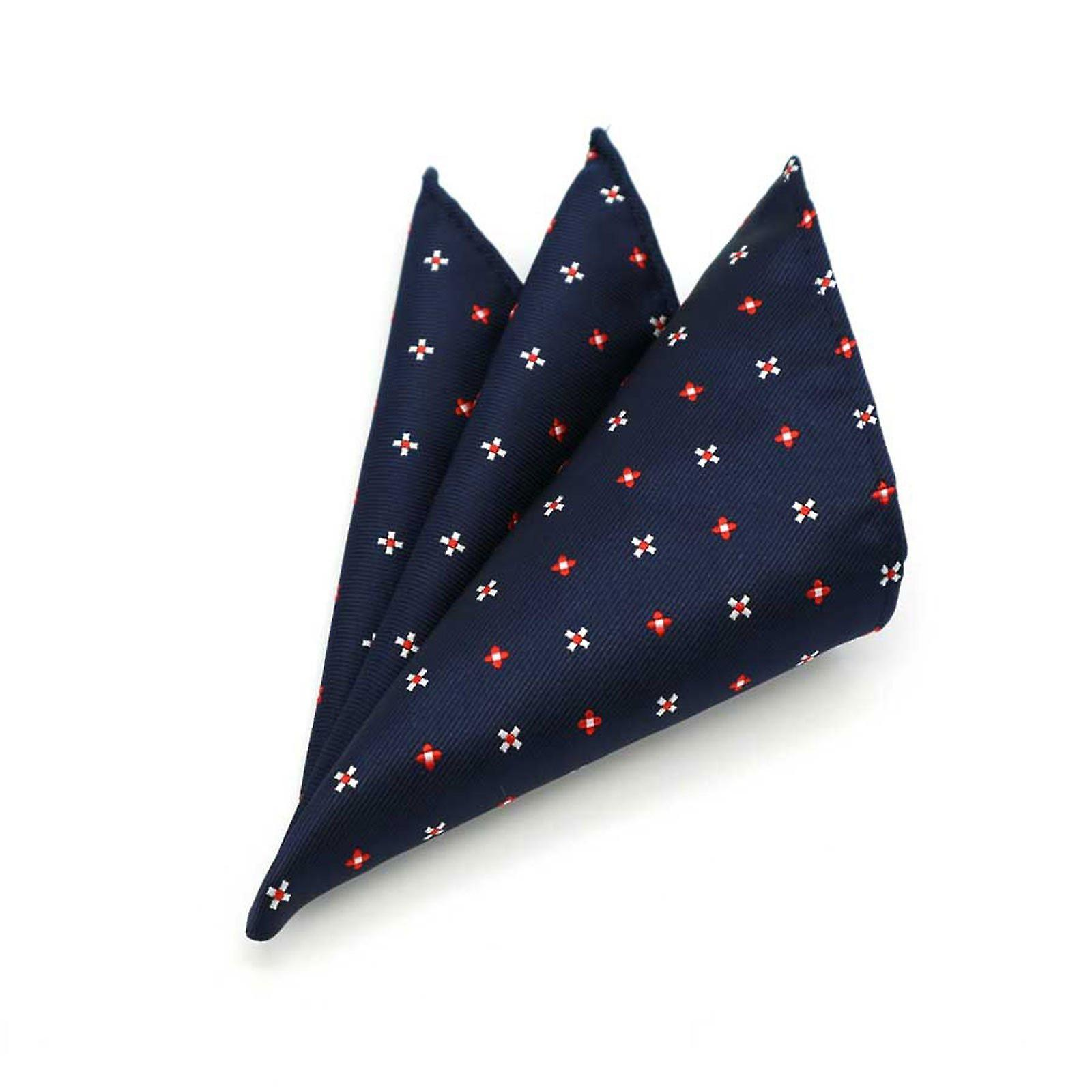 Navy blue & red floral ditsy pattern pocket square