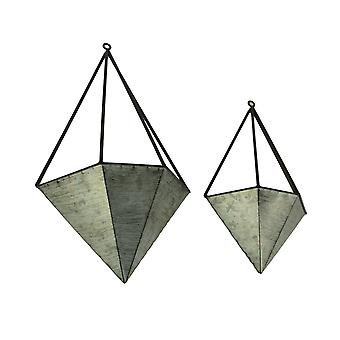 Galvanized Metal Diamond Shaped Angular Hanging Planters Set of 2
