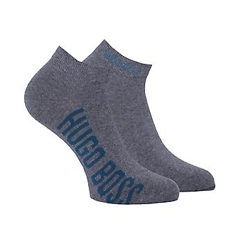 BOSS 2 Pack Grey Contrast Logo Trainer Chaussettes