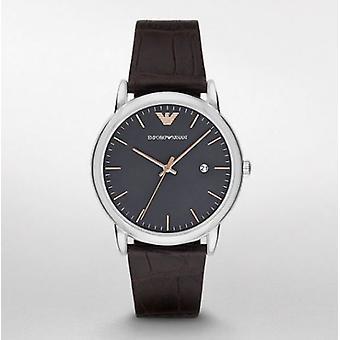 Emporio Armani Automatic Ar1996 pulseira de couro marrom Watch