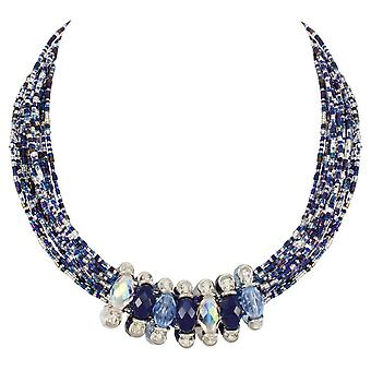 Eternal Collection Luciana Blue And Silver Statement Venetian Murano Glass Torsade Necklace