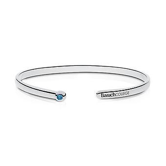 Bernard M. Baruch College graviert Sterling Silber Schweizer blau Topas Manschette Armband