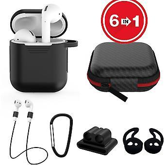 Caja de silicona 6 en 1 con accesorios adecuados para AirPods-black
