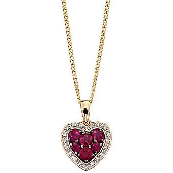 Elements Gold Ruby and Diamond Heart Pendant - Red/Gold/Silver