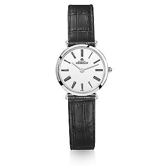 Michel Herbelin | Womens | Epsilon | Black Leather Strap | White Dial | 17106/01N Watch