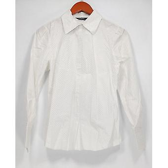 Elisabeth Hasselbeck Striped Long Sleeve Button Down White Top A89248