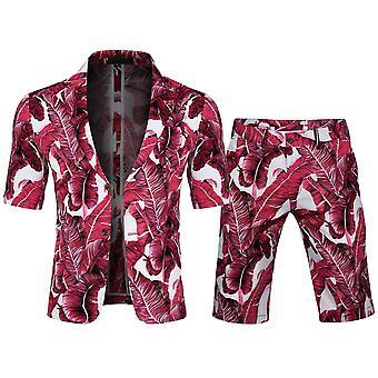 Allthemen Men's Kısa Kollu Takım Elbise 2 Parça Kısa Blazer&Kısa Pantolon