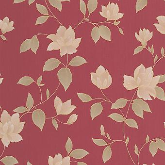 Red Gold Floral Wallpaper Metallic Textured Paste Wall Vinyl Graham Brown Amy