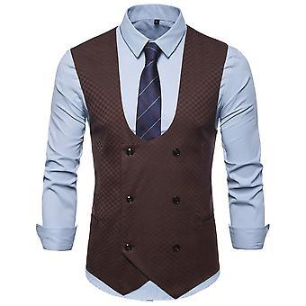 Allthemen Men's Double-Breasted U-Neck Baquet Business Casual Suit Vest 4 Colors