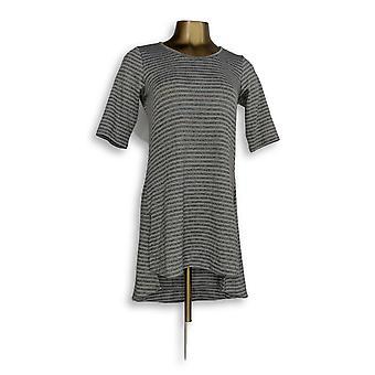 Lisa Rinna coleção mulheres ' s Top XXS fenda lateral listrado tee Gray A299451