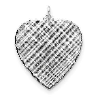 925 スターリングシルバーソリッドポリッシュ彫刻彫刻(バックのみ)彫刻可能な愛のハートパターンディスクチャームペンダントネックレスJ