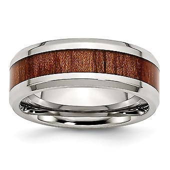 Rustfrit stål poleret Rød Orange Wood Enameled 7.80mm Ring smykker Gaver til kvinder - Ring Størrelse: 8 til 13