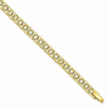 7.25inch 14k vergulde doos vangst sluiting CZ cubic Zirconia gesimuleerde diamant armband sieraden geschenken voor vrouwen