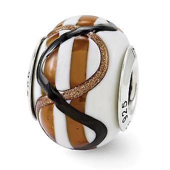 925 Sterling Silber italienischen Murano Glas Reflexionen weiß braun schwarz italienischen Murano Perle Charme Anhänger Halskette Juwelier
