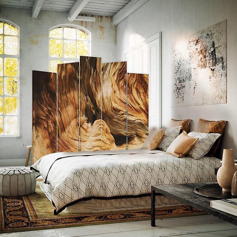 Diviseur de pièce décorative, 5 panneaux, double-sided, toile rotative, 360, caverne de structure