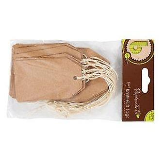 20 Natural Recycled Kraft Paper Gift Tags - Luggage Tag Style