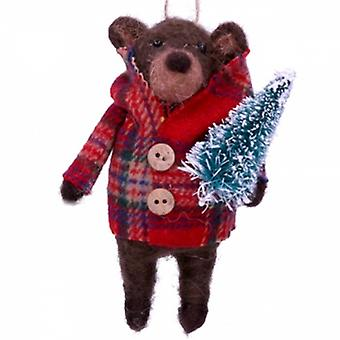 Gisela Graham Brown Teddy in Coat Decoration | Handpicked Gifts