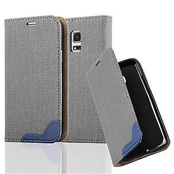 Cadorabo Sag til Samsung Galaxy S5 MINI / S5 MINI DUOS sag dække - Telefon sag i bast look med kort rum og stå funktion - Case Cover Beskyttende sag sag bog Foldestil