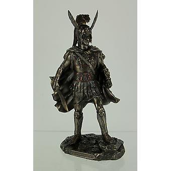 Bronzen finish Alexander de grote in Armor Holding zwaard standbeeld