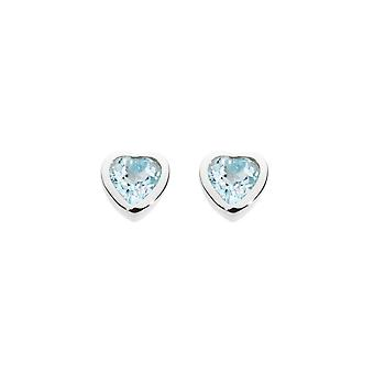 Dew Sterling Silver Dinky Blue Topaz Heart Studs Earrings 3035BT