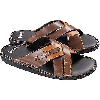 Ikon Mens Newquay Casual Summer Holiday Strap Flip Flop Sandals - Brown/Tan