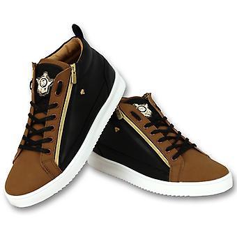 Sneaker Bee Camel Black Gold High Brown