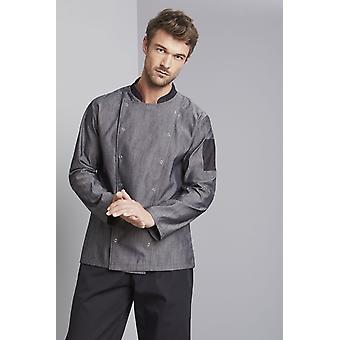 SIMON JERSEY Men's Pale Grey Denim Chef's Jacket