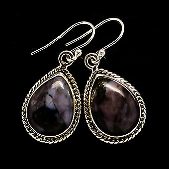 "Gabbro Stone Earrings 1 3/8"" (925 Sterling Silver)  - Handmade Boho Vintage Jewelry EARR392557"