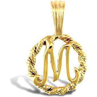Jewelco London Solid 9ct Yellow Gold Rope Identity Initial Charm Pendant Letter M