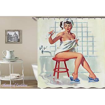 Vintage Shower Girl Shower Curtain