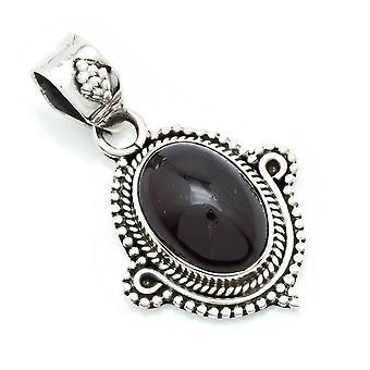 Amuleto de caneta corrente prata 925 Sterling Silver Garnet Red Stone (Não: MAH 139-02)