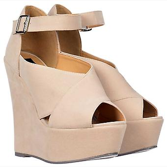 Onlineshoe Criss Cross Platform Wedges - Ankle Strap - Nude Suede