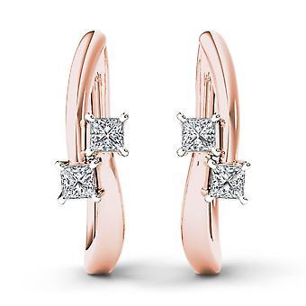 Boucles d'oreilles Igi certifiés 10k rose or 0.33 ct princesse diamant deux pierres cerceau
