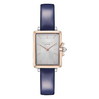 Ted Baker Tess Quartz Retro Silver Dial Blue Leather Strap Ladies Watch TE50271002