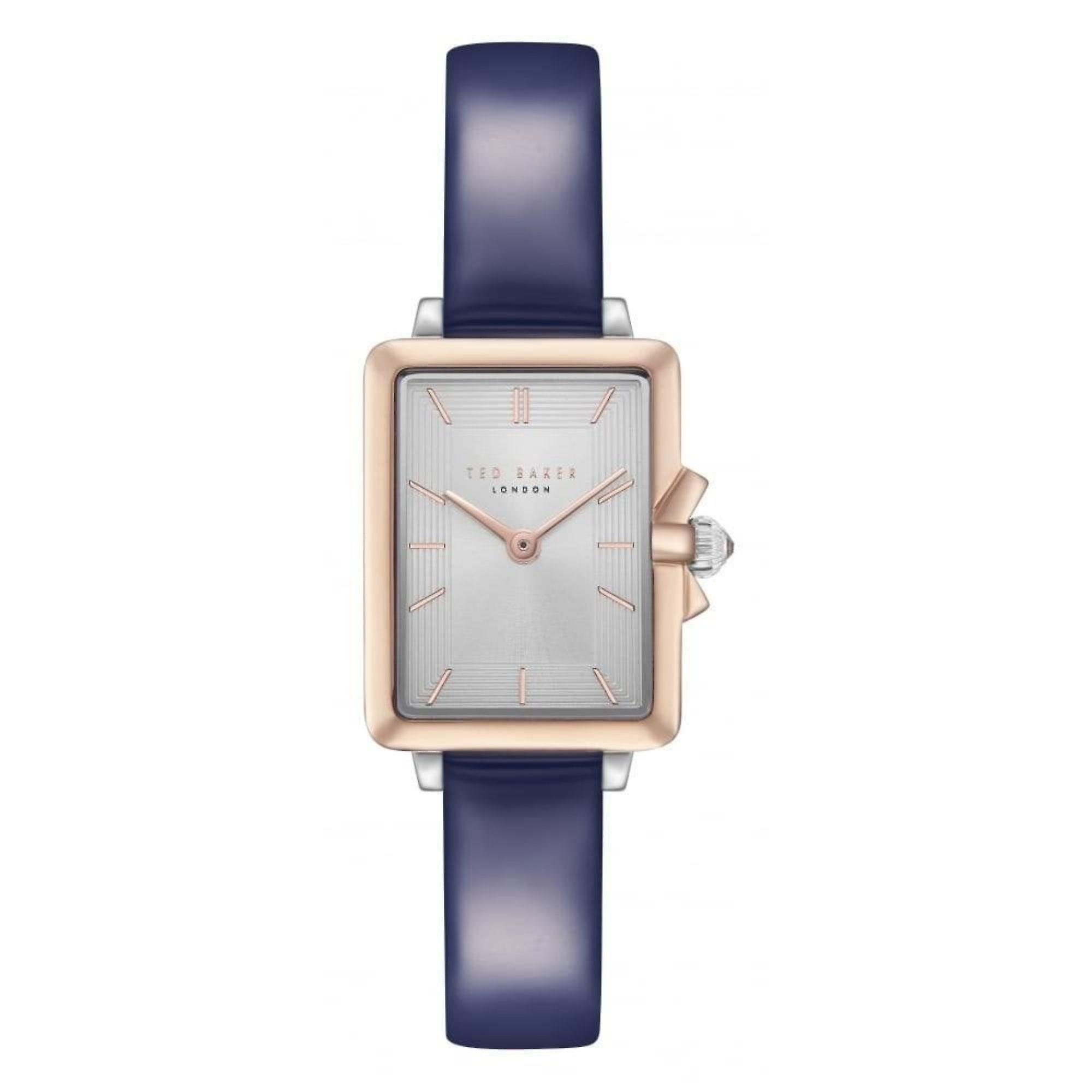 Ted Baker Tess Quartz Retro Silver Dial Blue Leather Strap Ladies Watch TE50271002