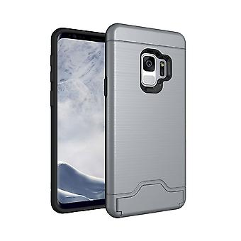 For Samsung Galaxy S9 Back Case,Brushed Texture Cover with Card Holder,Grey