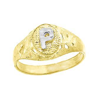 10k Two tone Gold baby voor jongens of meisjesLetter Naam Gepersonaliseerde Monogram Initial P Band Ring Maatregelen 7.5x2.20mm Wide S
