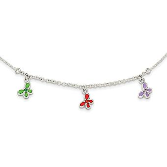925 Sterling Silver Enamel Garnet Amethyst and Green Butterfly Angel Wings for boys or girls Necklace 14 Inch