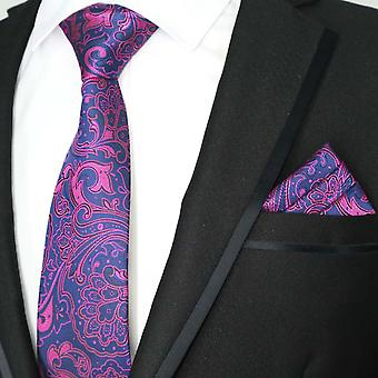 Bright pink & navy blue paisley tie & pocket square set