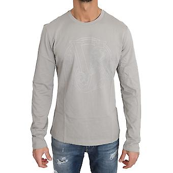 Versace Jeans Gray Cotton Silver Studded Tiger Crewneck