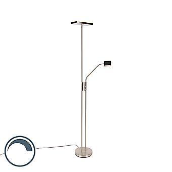 QAZQA Lampe de sol moderne incl. LED et gradateur avec lampe de lecture - Uplighter Jazzy