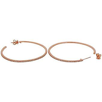 TOC Rose-Goldtone Sterling Silber CZ Set kreolische Creolen 52mm
