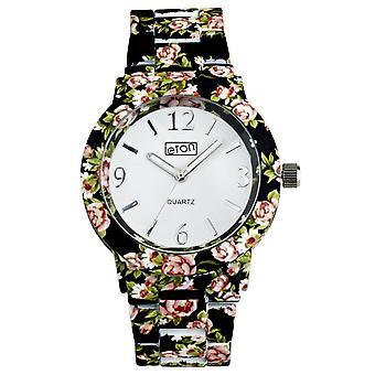 Eton Black Chintz Floral Print Bracelet Fashion Watch 3174J-BK