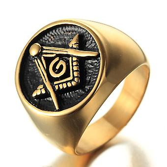 Classic gold freemason ring