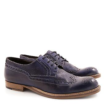 Wingtip shoes for women handmade in blue leather