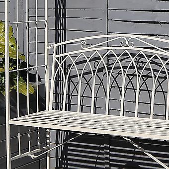 Charles Bentley Schmiedeeisenbogen mit 2 Sitzer Metall bank für Klettern Pflanzen dekorative Bogen mit rostfesten Farbe - weiß