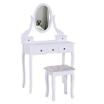 HOMCOM Dressing Table Vanity Set Vintage Desk Stool Mirror Makeup Furniture Shabby Chic Style Jewelry Cosmetic Storage 5 Drawers - White