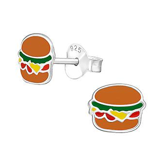 Burger - 925 Sterling Silver Colourful Ear Studs - W17796x