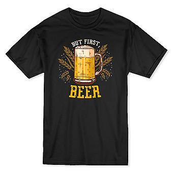 "Jar Of Beer Graphic ""But First Beer"" Quote Men's T-shirt"